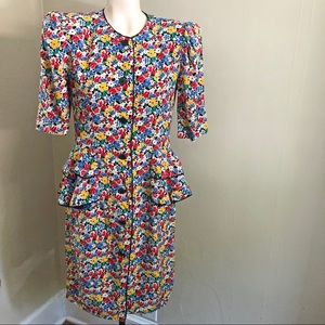 ALBERT NIPON vtg floral silk button ruffle dress